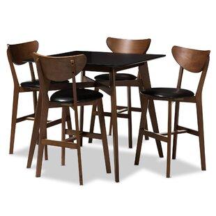 Dalke Mid-Century 5 Piece Pub Table Set