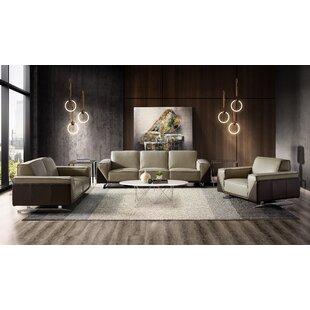 Bonneauville 3 Piece Leather Living Room Set by Orren Ellis