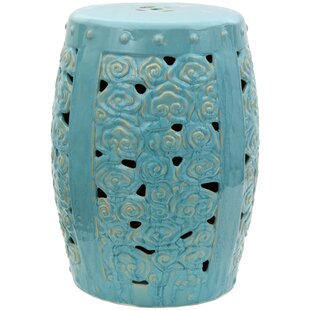 Carved Clouds Porcelain Garden Stool