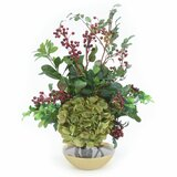 Green Hydrangea With Berries In Gold Rimmed Rose Bowl by Distinctive Designs