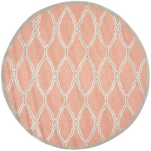 Hagley Hand-Tufted Wool Coral Area Rug by Beachcrest Home