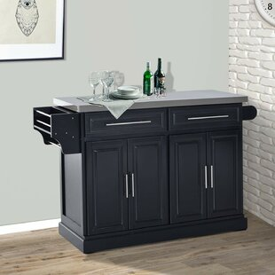 Teignmouth Rolling Kitchen Island with Stainless Steel Top