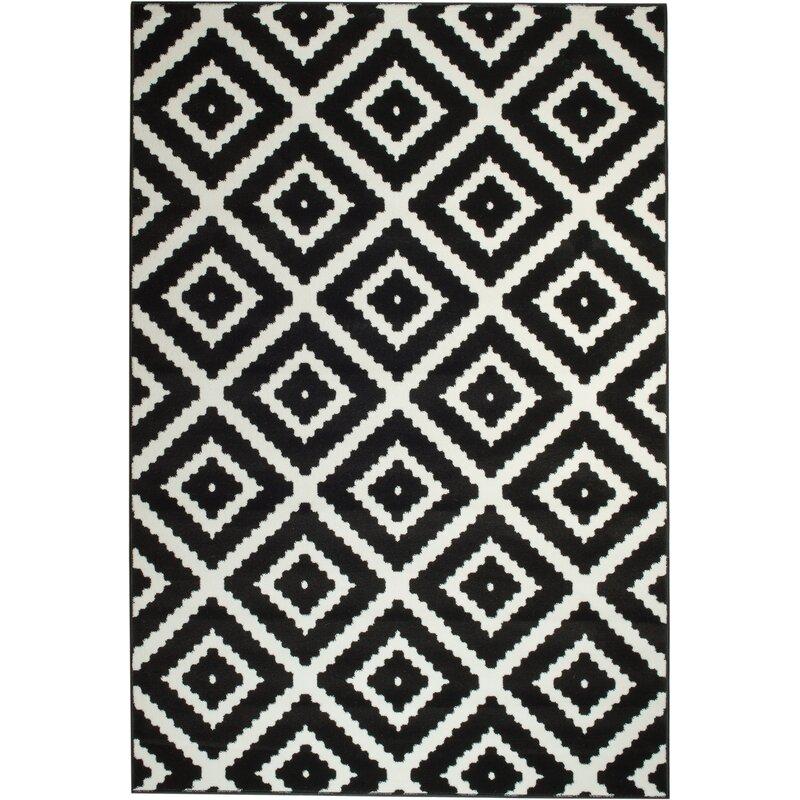 Leana Geometric Black White Area Rug Reviews Joss Main