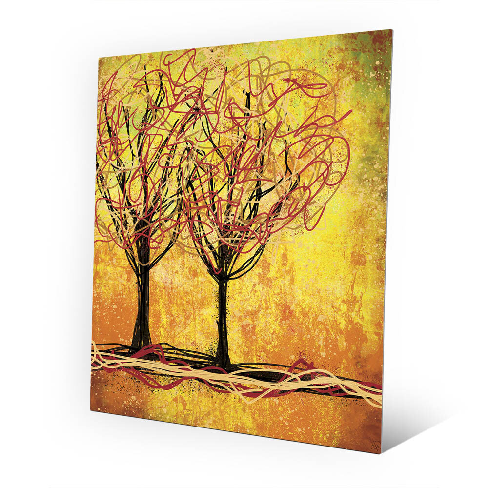 Click Wall Art \'Stringy Trees Yellow\' Graphic Art on Wood | Wayfair