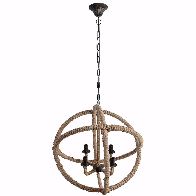 4-Light Mini Round Rope Chandelier #ropelight #spherechandelier #graceandfrankie