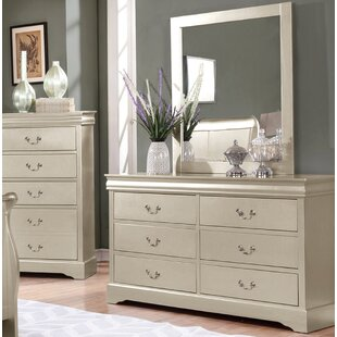 Charlton Home 6 Drawer Double Dresser with Mirror
