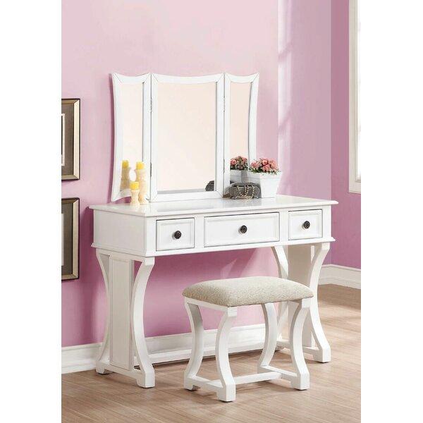 Amazing Vanity And Mirror Set Part - 13: Infini Furnishings Eveline Vanity Set With Mirror Reviews Wayfair