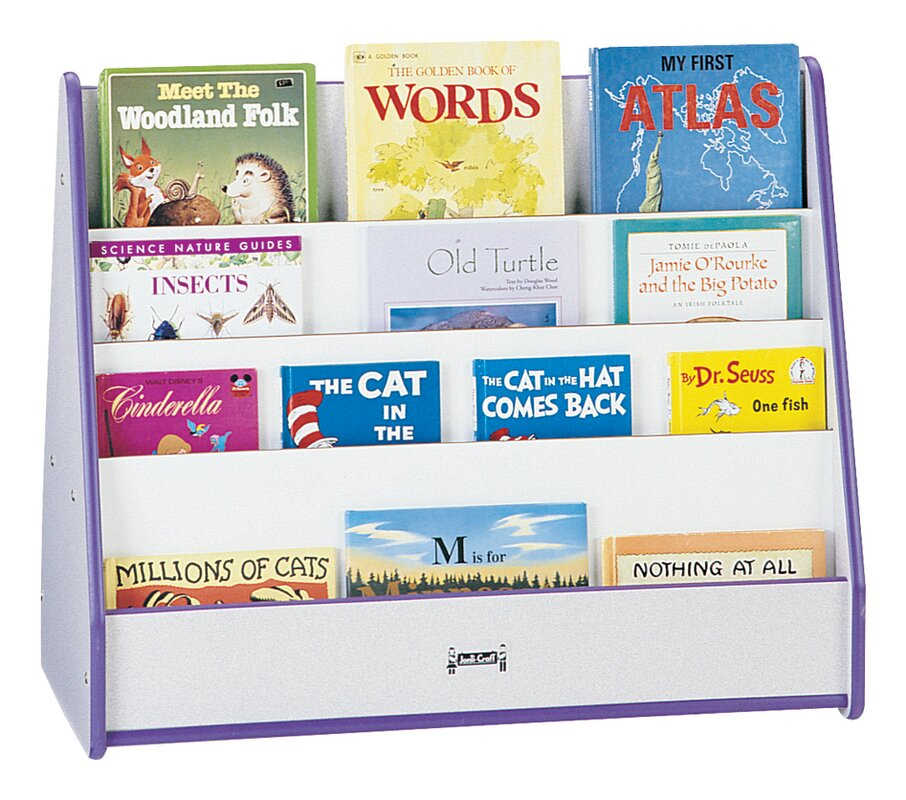 Rainbow Accents Double Sided 8 Compartment Book Display with Casters