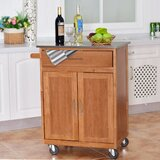 Antrione Rolling Storage Kitchen Cart with Stainless Steel Top by Latitude Run