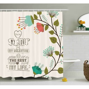 Valentines Day Valentines Day Romanic Themed Floral Flowers With Leaves Art Print Single Shower Curtain