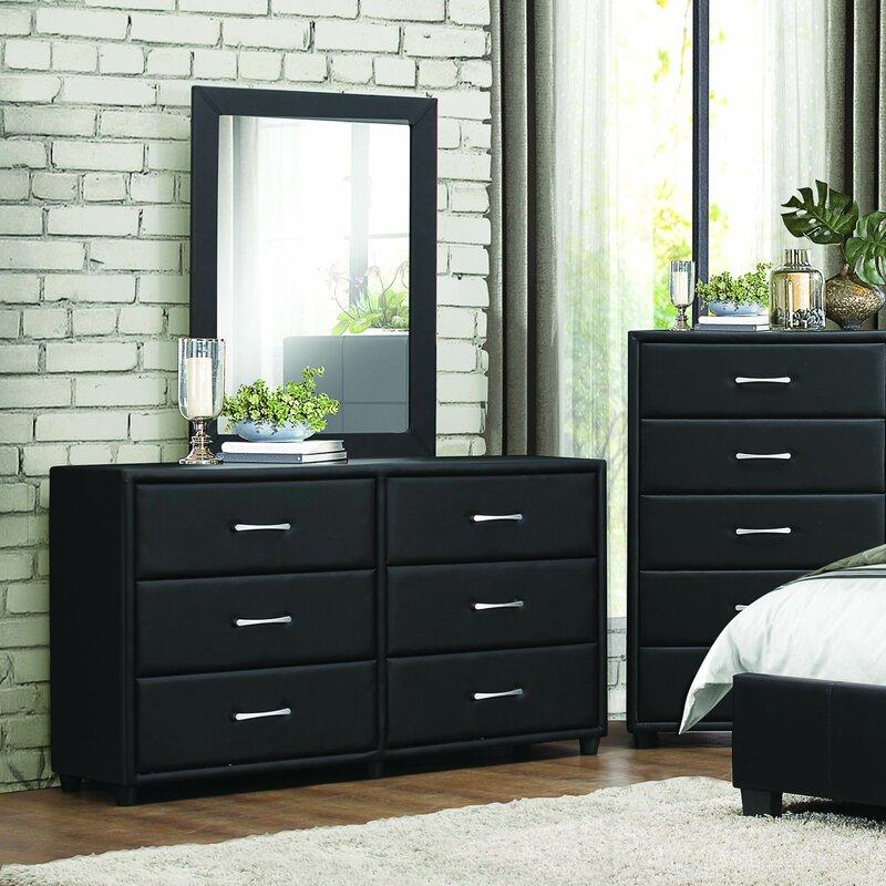 Orren Ellis Amezcua 6 Drawer Double Dresser with Mirror & Reviews