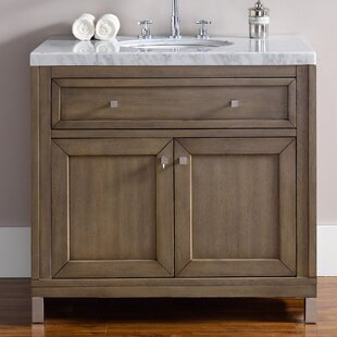 Valladares 36 Single White Washed Walnut Solid Wood Base Bathroom Vanity Set by Brayden Studio
