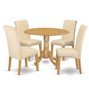 Parise Small Table 5 Piece Drop Leaf Solid Wood Breakfast Nook Dining Set Charlton Home