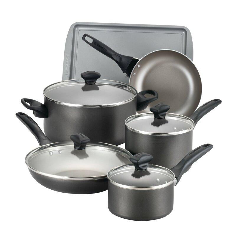Farberware Dishwasher Safe Nonstick Aluminum 15-Piece Cookware Set, Pewter -  ADULT
