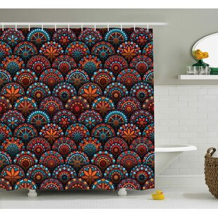 Audington Geometric Floral Forms Shower Curtain + Hooks