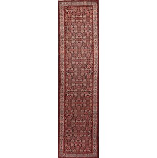 Affordable One-of-a-Kind Emmons Traditional Malayer Hamadan Persian Hand-Knotted Runner 3'4 x 13'2 Wool Blue/Burgundy Area Rug By Isabelline