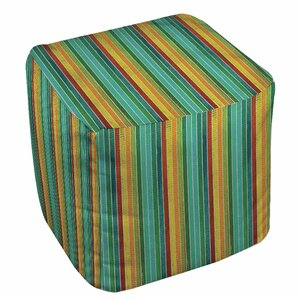 Aqua Bloom Stripes Ottoman by Manual Woodworkers & Weavers