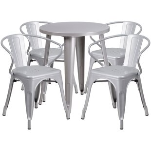Cordele Metal Indoor/Outdoor 5 Piece Dining Set