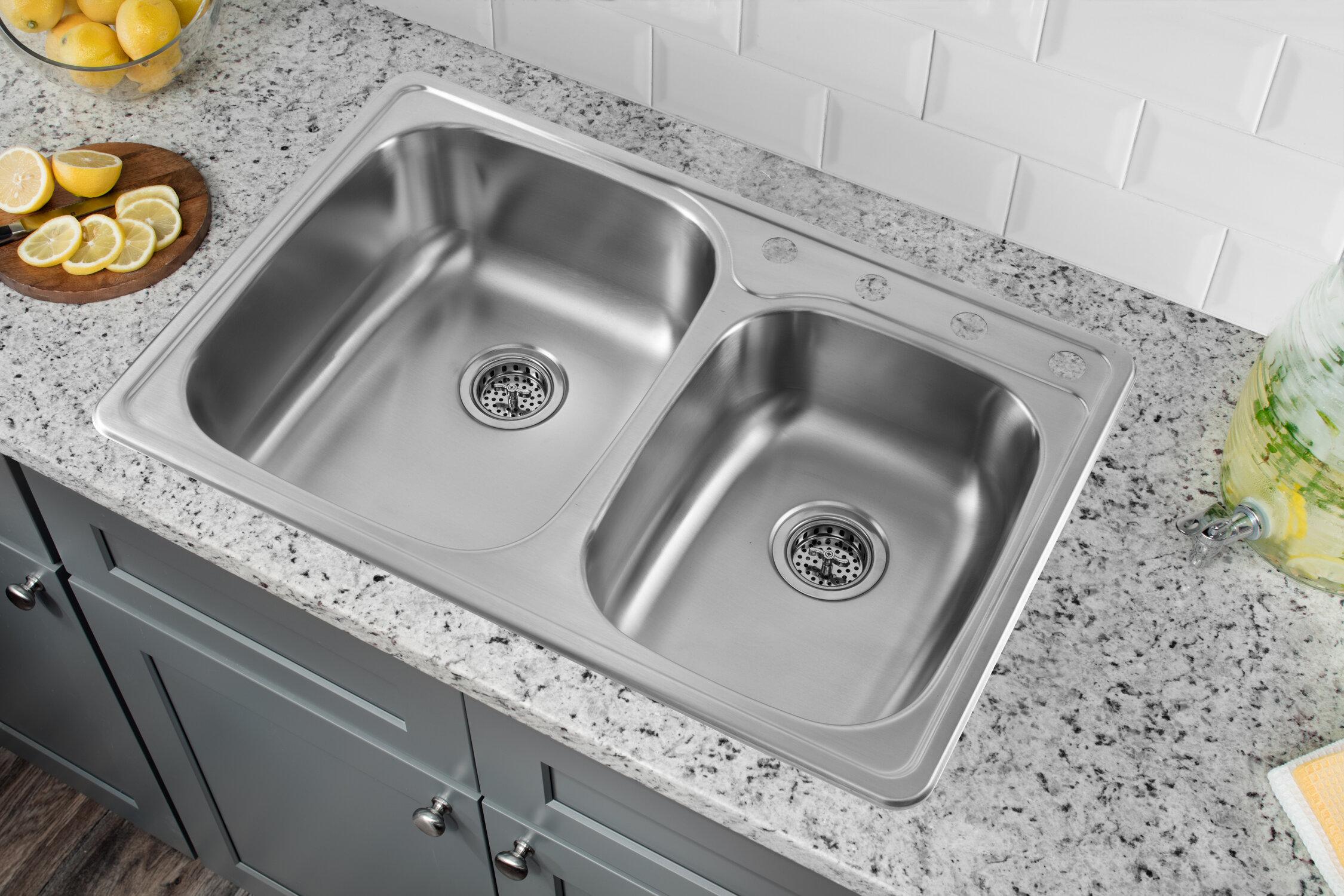 "Soleil 33"" x 22"" Drop In Double Bowl Kitchen Sink & Reviews"