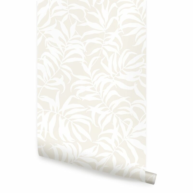 Bayou Breeze Shayla Tropical Palm Leaves Paintable Peel And Stick Wallpaper Tile Wayfair