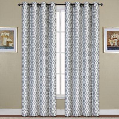"United Curtain Co. Oakland Geometric Semi Sheer Grommet Single Curtain Panel Colour: Blue, Size per Panel: 54"" W x 84"" L"