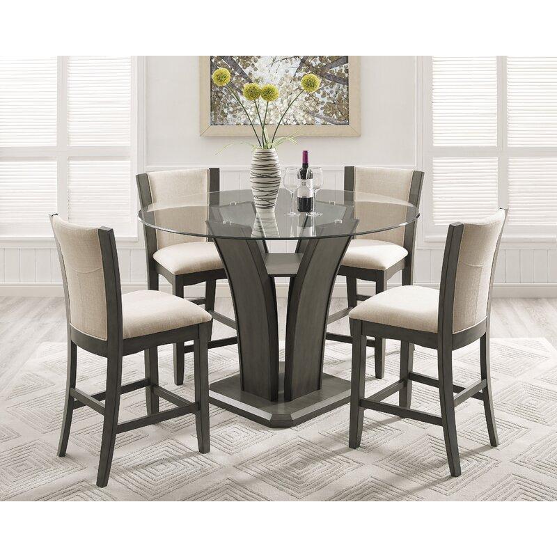 Elegant Kangas 5 Piece Round Counter Height Dining Set