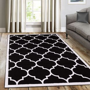 Eastlawn Trendy Black Area Rug by Three Posts