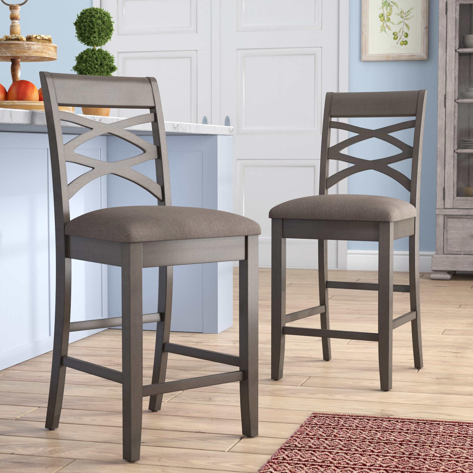 Phenomenal Jeanine Wood Double Cross Back 24 Bar Stool Pdpeps Interior Chair Design Pdpepsorg