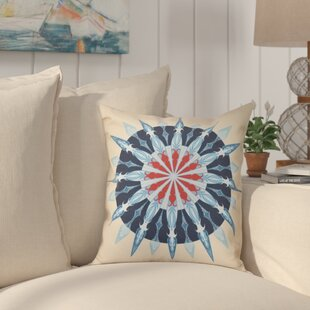 Hancock Sea Wheel Geometric Print Outdoor Throw Pillow