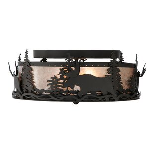Meyda Tiffany Moose at Dusk 2-Light Flush Mount