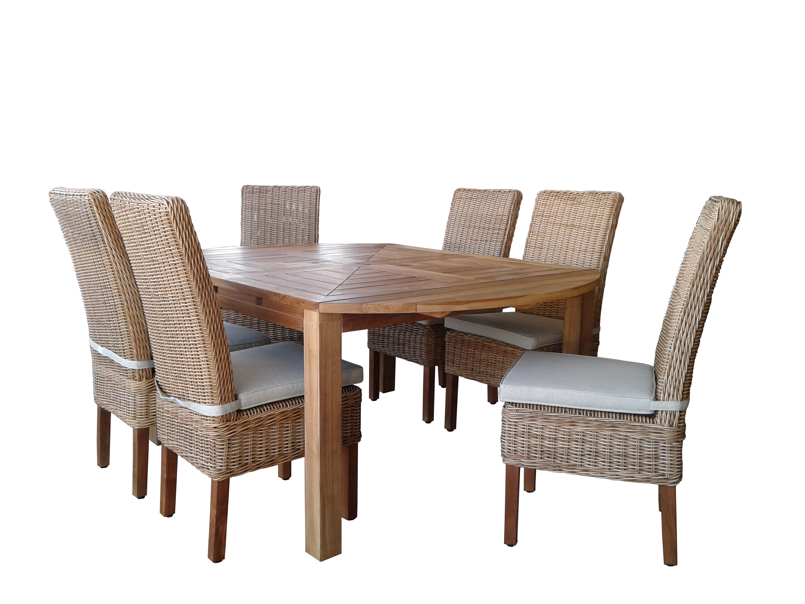 Gracie Oaks Hamish 7 Piece Teak Dining Set With Cushions Wayfair