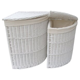 2 Piece Corner Wicker Laundry Set By House Additions
