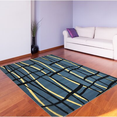 "Black Area Rug Rug Tycoon Rug Size: Rectangle 5'3"" x 7'2"""