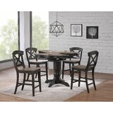 Paquin 5 - Piece Counter Height Butterfly Leaf Rubber Solid Wood Dining Set by Rosalind Wheeler