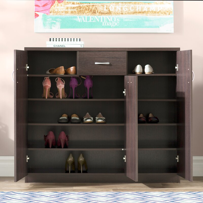 Wood 30 Pair Shoe Storage Cabinet