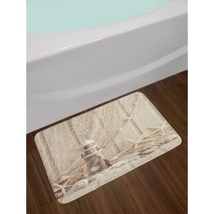 Fishing Net Marine Theme with Sea Stars And Shells Underwater Life Wooden Lighthouse Print Non-Slip Plush Bath Rug