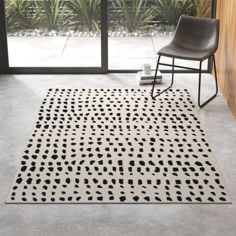 Polka Dots Handmade Tufted Wool Ivory Black Area Rug
