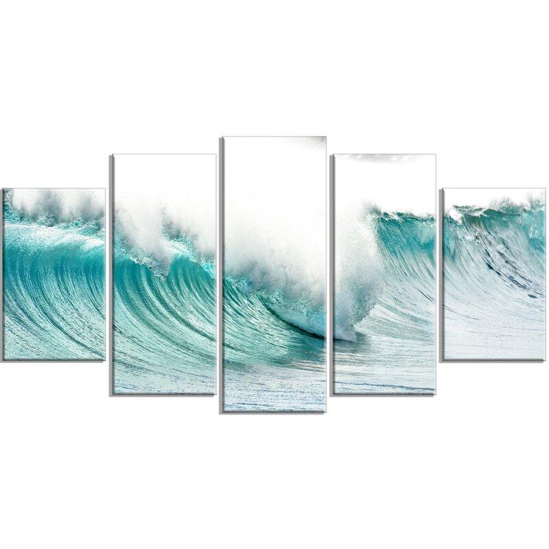 Designart Massive Blue Waves Breaking Beach 5 Piece Wall Art On Wrapped Canvas Set Wayfair