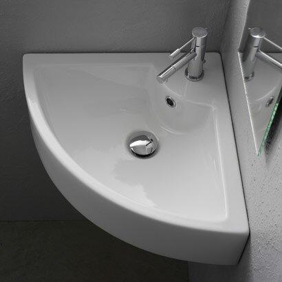 Ceramic 19 Corner Bathroom Sink With Overflow