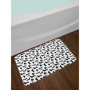 Dog Lover Monochrome Dachshunds in Numerous Stances Active Life Pet Canine Abstract Image Non-Slip Plush Bath Rug