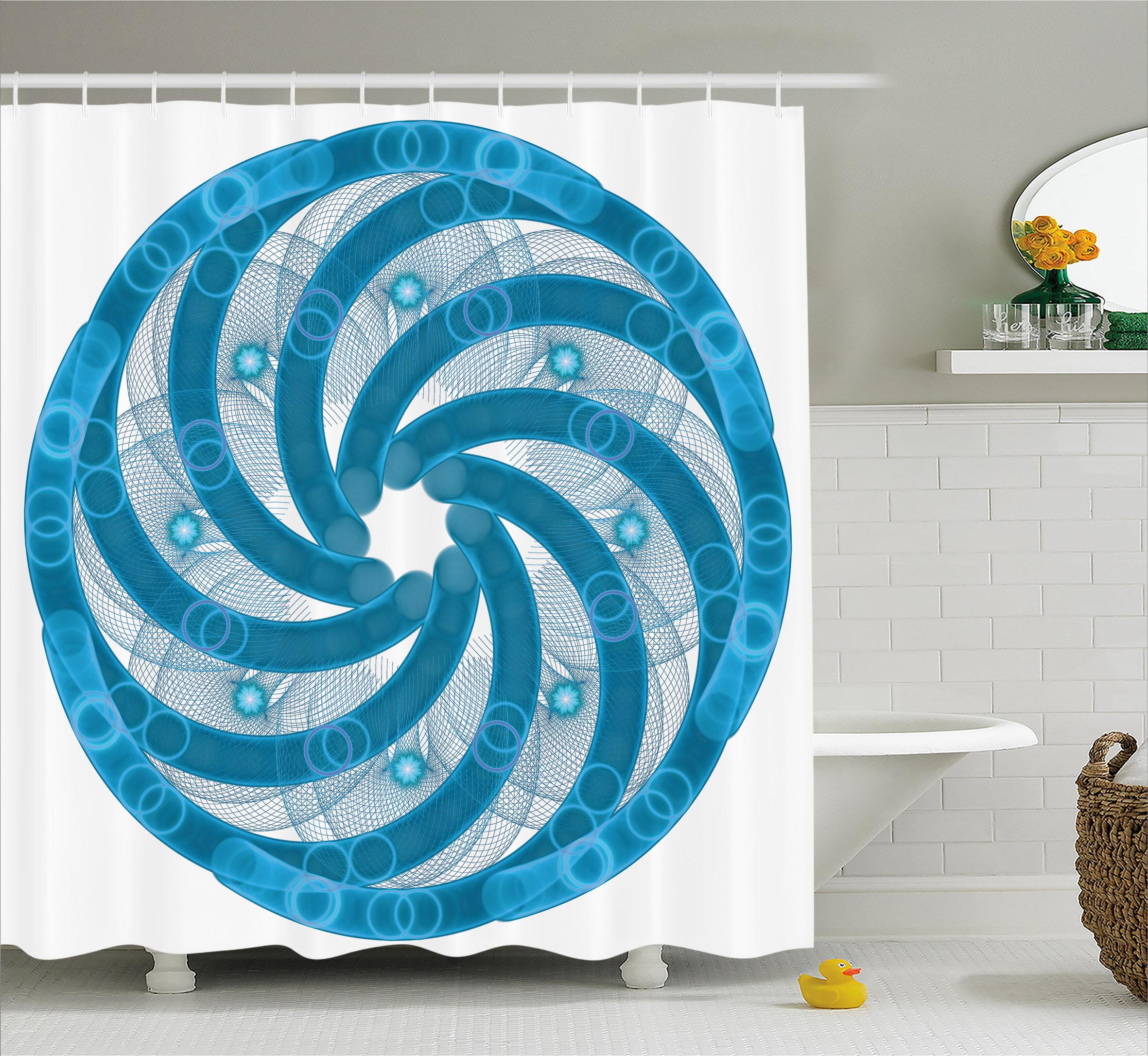 Ebern Designs Alberto Abstract Fractal Artsy Shower Curtain