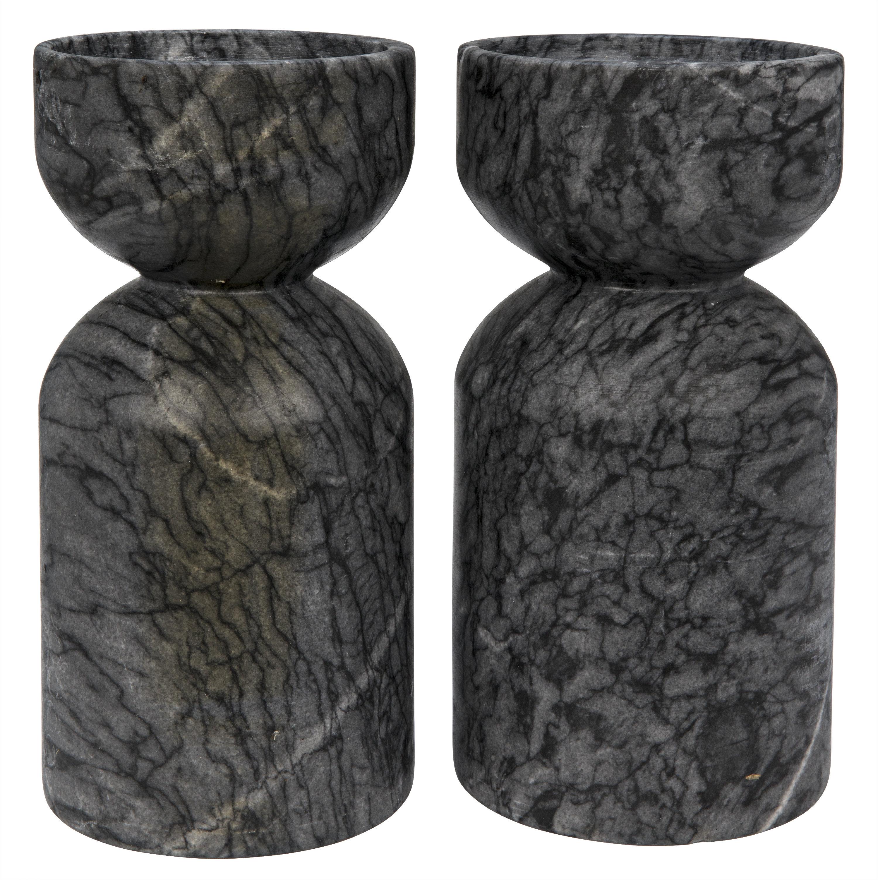 Noir Elias 2 Piece Stone Tabletop Candlestick Set Perigold