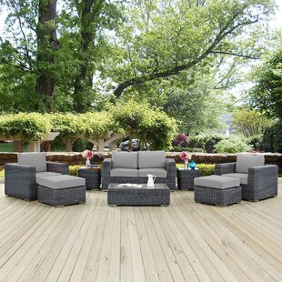 Brayden Studio Alaia 8 Piece Rattan Sunbrella Sectional Seating Group with Cushions