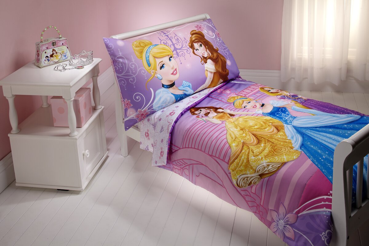 Design Princess Bedding disney princess dress to shine 4 piece toddler bedding set set