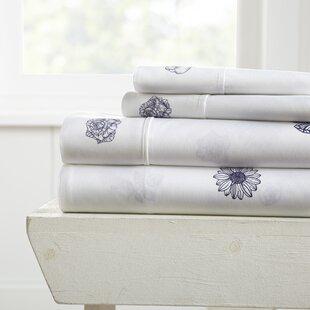 August Grove Bierce Premium Ultra Soft Indigo Flowers 4 Piece Bed Sheet Set