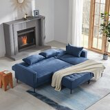 Corleone 86.6'' Wide Velvet Right Hand Facing Sleeper Sofa & Chaise with Ottoman by Latitude Run®