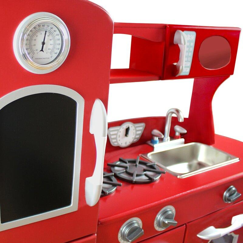Red Play Kitchen Set teamson kids wooden play kitchen set & reviews | wayfair