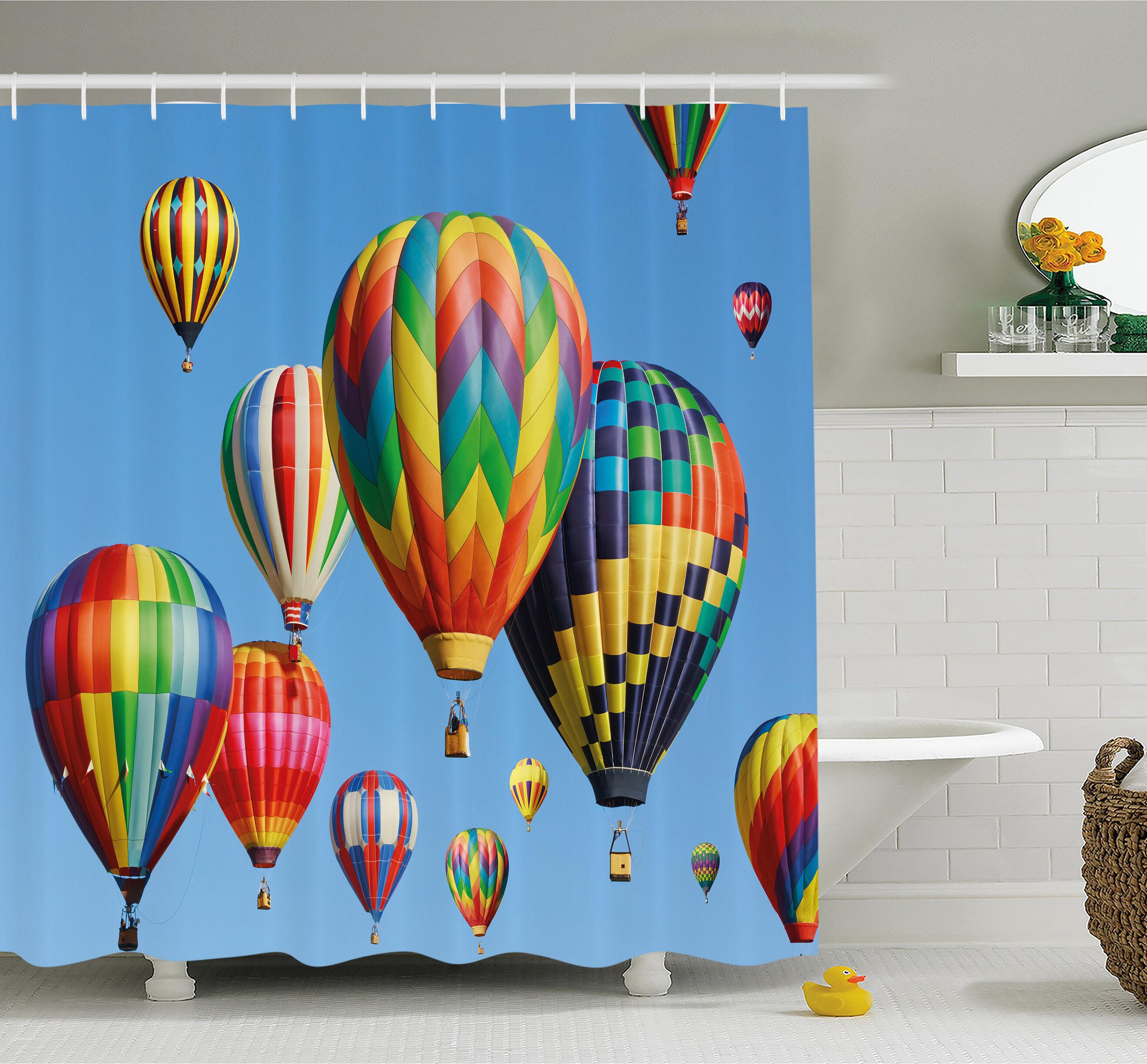 Nostalgic Hot Air Balloons In Sky Flying Journey Shower Curtain Set