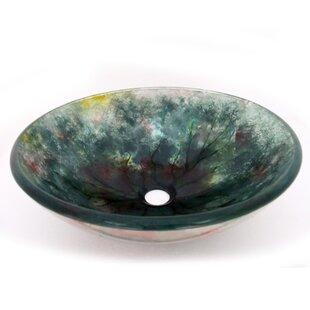 Legion Furniture Rooted Sky Glass Circular Vessel Bathroom Sink