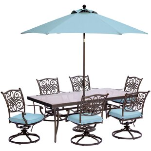 Three Posts Lauritsen 7 Piece Dining Set with Cushions and Table Umbrella